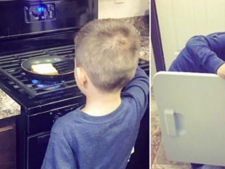Mom teaches 6-year-old son he isn't 'too manly' to cook, clean