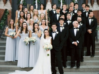 Watch out! Bridal party reacts to photographer's close call with speeding car