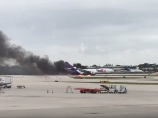 Fed-Ex Plane Catches Fire at Florida Airport