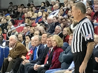 President George W. Bush, Ex-PM David Cameron Courtside at SMU