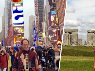 Meet the man who knits sweaters of famous landmarks, and then visits them