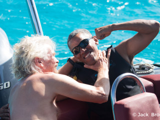 Obama Kite Surfs With Richard Branson in Virgin Islands Holiday