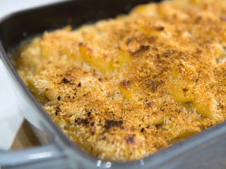 Mac & cheese, 2 ways: Smoky bacon + Gruyere with caramelized onions