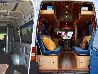 See how one couple converted a 80-square-foot airport van into a cozy home