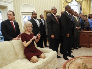 Kellyanne Conway Explains Why She was Kneeling on Oval Office Couch