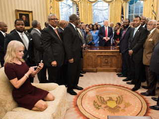 Kellyanne Conway's Feet on Oval Office Couch Kick Off Debate