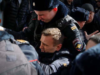 Russian Opposition Leader Alexei Navalny Detained by Police During Moscow Protest