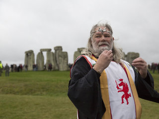 King Arthur Uther Pendragon Holds Pagan Rituals at Stonehenge