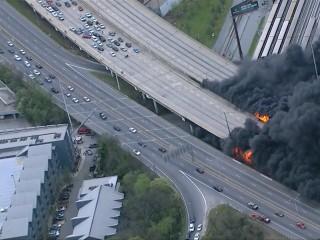 Bridge Collapses in Atlanta Freeway Fire During Rush Hour