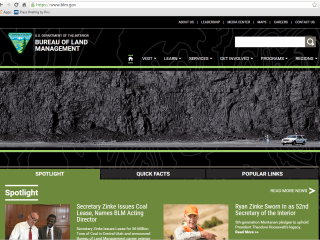Bureau of Land Management Changes Website Homepage to Coal Bed Photo