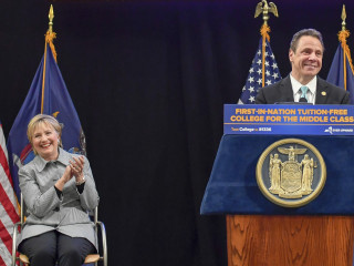 Hillary Clinton Applauds New York's Free College Plan at Signing Ceremony