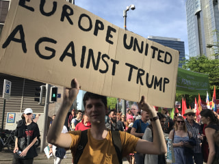 'Not Welcome Here': Demonstrators Protest Trump's Arrival in Belgium