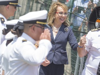 Gabrielle Giffords Salutes Sailors as Warship Named for Her Commissioned