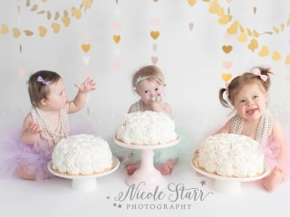 After heart surgery, 3 girls with Down syndrome share 1st birthday cake smash