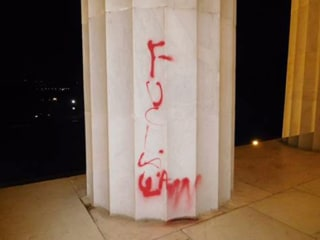 Lincoln Memorial Vandalized With Red Spray Paint
