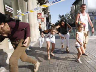 Barcelona Attack: Pedestrians Flee After Van Rams into Crowd