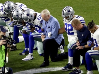 Jerry Jones Leads Cowboys in Taking a Knee Over Trump's National Anthem Comments