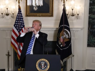 Trump has awkward water bottle moment on TV