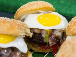 Over-the-top tailgate: Brunch burgers, braised bratwurst and potato salad