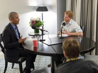 England's Prince Harry interviews Barack Obama for radio show
