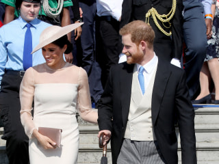 Prince Harry and Meghan Markle attend Charles' garden party in first official event as couple