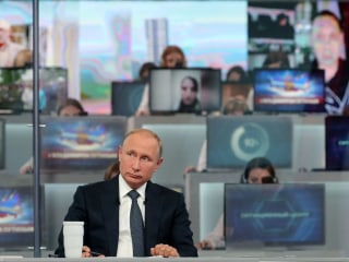 Putin talks World War III and World Cup during annual call-in show