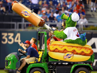 Beware of flying hot dogs! Phillie Phanatic's food cannon sends woman to the hospital