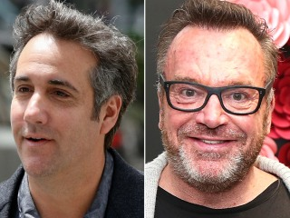 Trump lawyer Michael Cohen mugs with Trump critic Tom Arnold
