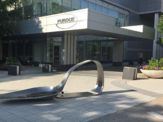 Drug spoon sculpture placed outside drugmaker Purdue Pharma's headquarters