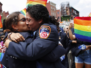 She said, 'Yes!': FDNY first responders get engaged at NYC Pride March
