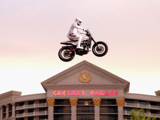 Travis Pastrana completes all three of Evel Knievel's most famous jumps