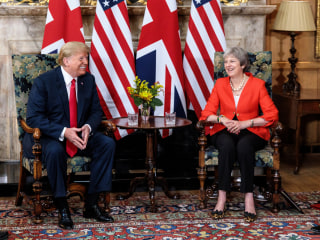 Hours after bashing British leader May, Trump denies criticism