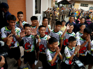 Thai cave boys leave hospital, smile after rescue drama