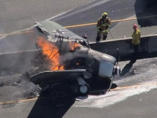 Vintage plane with German WWII markings crashes on LA-area freeway