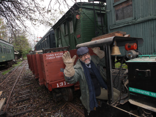 In Chile, this man has an epic train set in his backyard. They're real trains.
