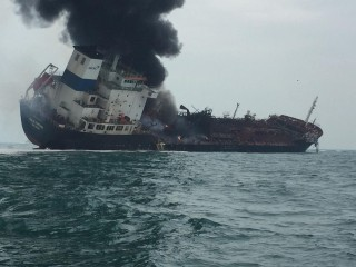 Oil tanker explodes and burns off Hong Kong's coast
