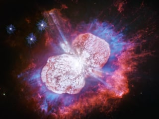 Hubble telescope captures cosmic 'fireworks' in red, white and blue