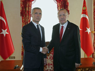 NATO chief in Turkey for talks on Syria amid splits in military alliance