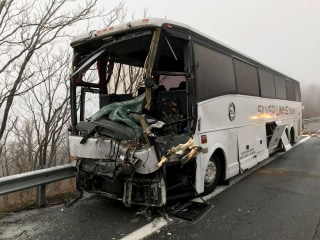 At least 19 injured in Virginia when bus and tractor-trailer collide