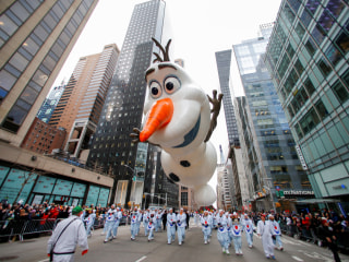 Balloons fly low for the 93rd Macy's Thanksgiving Day Parade