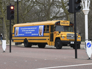 Prince Andrew must 'call the FBI' about Jeffrey Epstein, London bus sign says