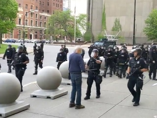 Buffalo police officers suspended after video shows them shoving protester