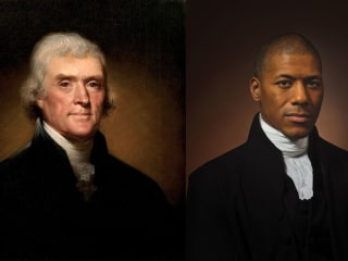 Image of Thomas Jefferson alongside Black great-grandson holds 'a mirror' to America