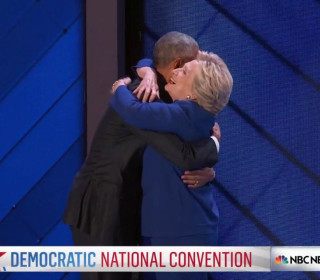 Hillary Clinton Greets President Obama With Hug