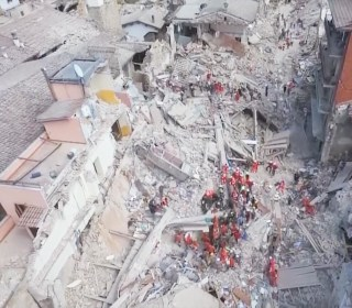 Drone Footage Shows Italian Village Destroyed by Quake
