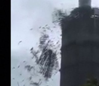 Terrifying Moment as Typhoon Sends Scaffold Flying
