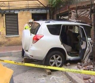 Uber Driver Slams Into Building