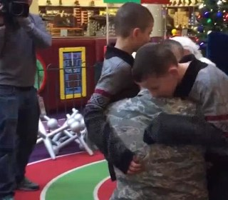 Sergeant Surprises Sons for Christmas