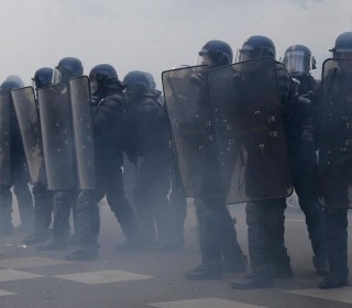 Tear Gas at Protests Against French Presidential Candidates