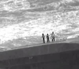 Dramatic Helicopter Rescue From Ship Capsized by Hurricane Maria
